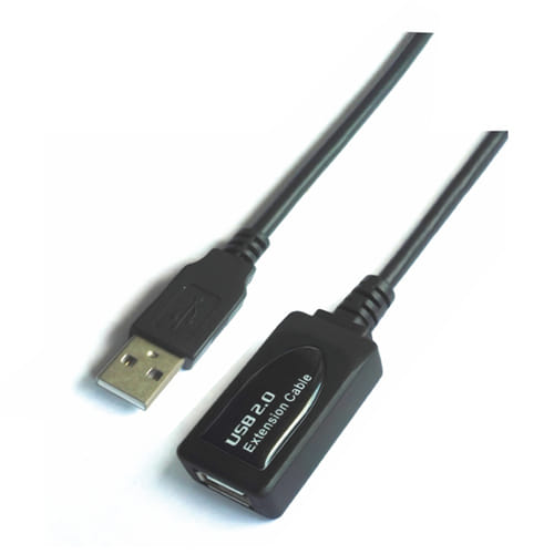Cable USB 2.0 prolongador con amplificador. tipo A/M-A/H. negro. 15m