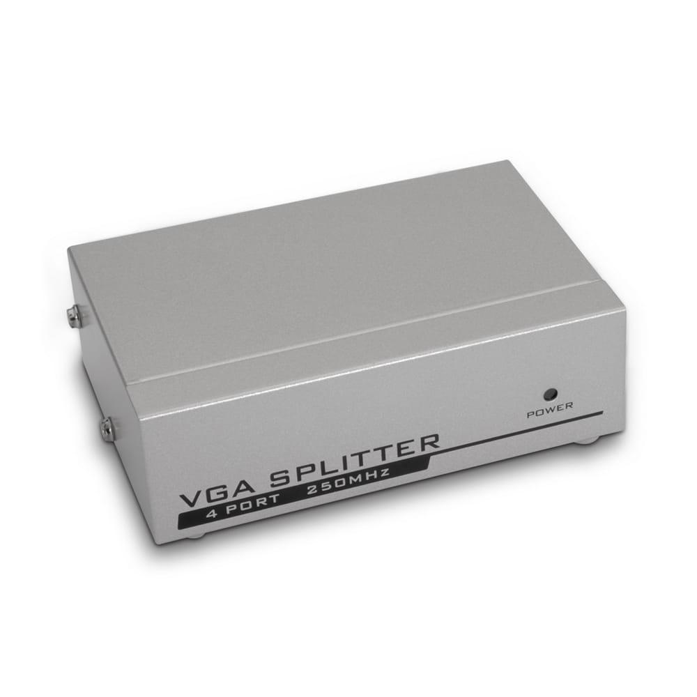 Splitter VGA para 4 monitores. Con adaptador de corriente.