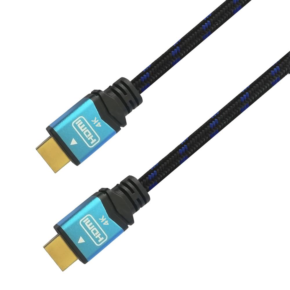 Cable HDMI v2.0 Premium alta velocidad. Tipo A/M - A/M. Negro/Azul. 2m.
