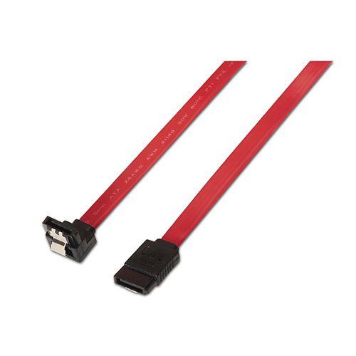 Cable SATA III datos 6G datos acodado con anclajes. rojo. 0.5m