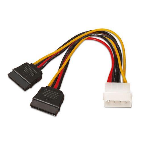 Cable alimentación SATA. Molex 4-Pin/M-2xSATA/H. 20cm.