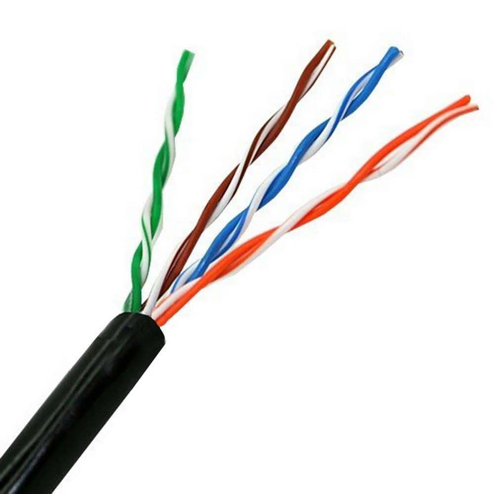 Cable de red RJ45 exterior impermeable Cat.5e UTP rígido AWG24. Negro. Bobina 100m.