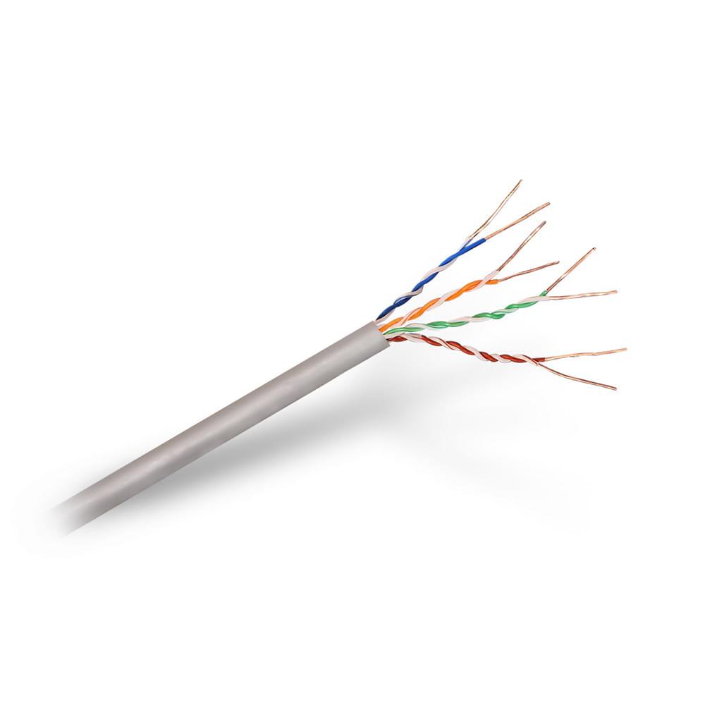 Cable de red LSZH RJ45 Cat5e UTP Rígido AWG24. Gris. Bobina 305m.