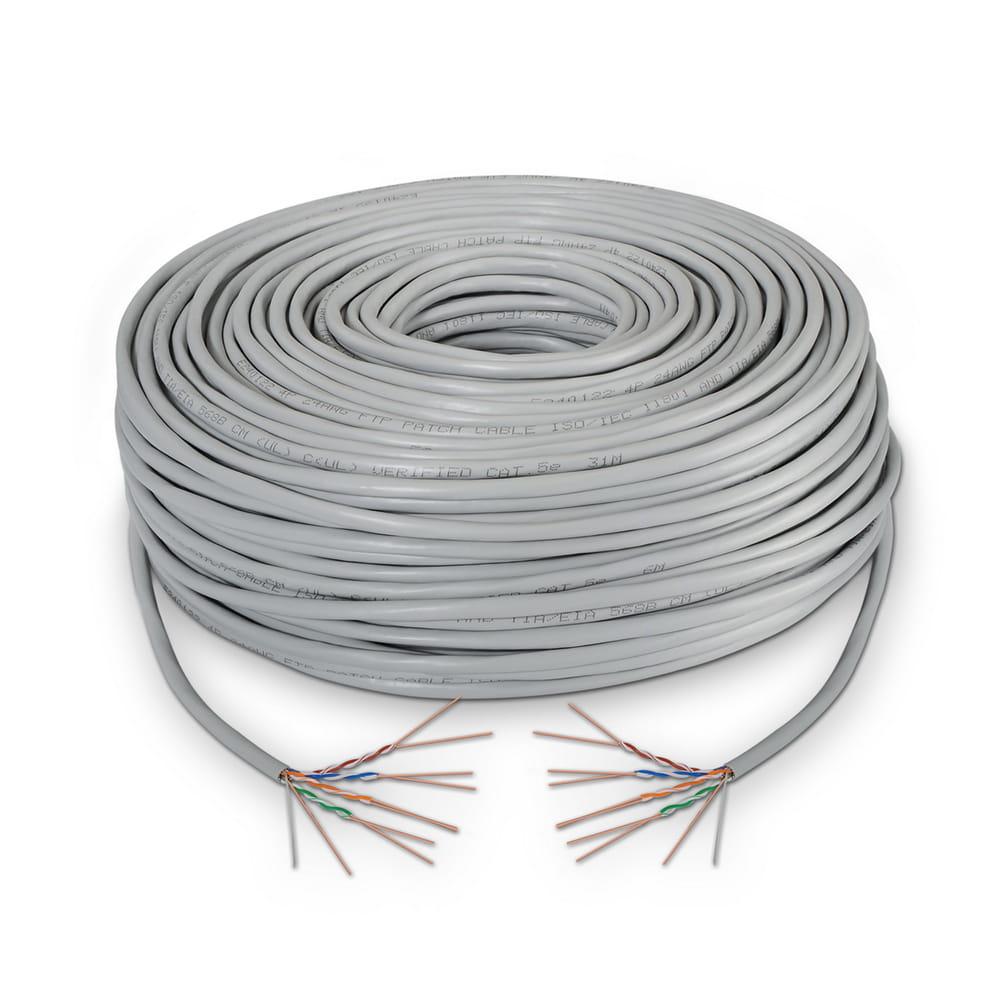 Cable de red RJ45 Cat5e FTP Rígido AWG24. Gris. Bobina 100m.