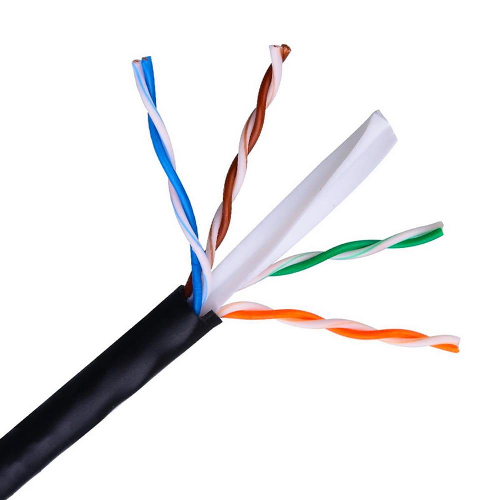 Cable de red RJ45 exterior impermeable Cat6 UTP Rígido AWG24. Negro. Bobina 100m.