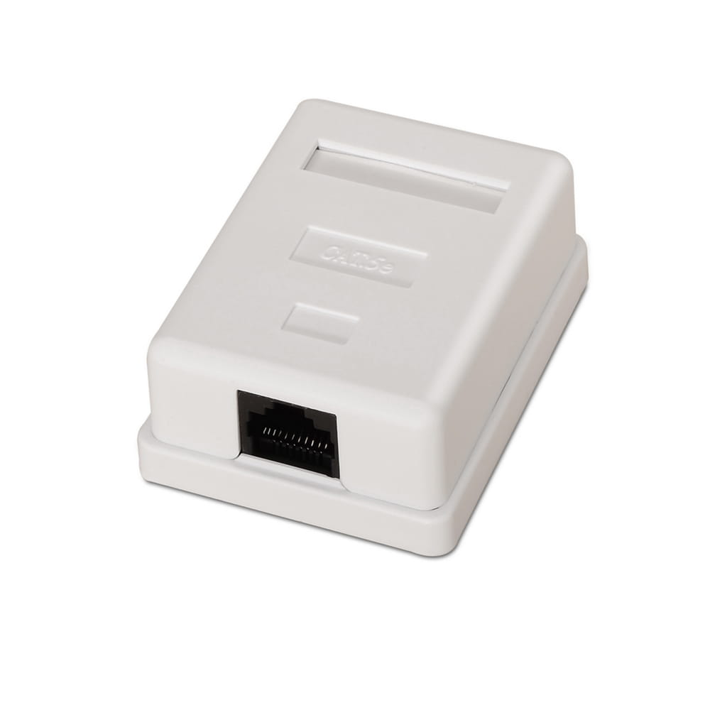 Roseta de superficie RJ45 Cat.5e UTP 1 toma. Blanco.