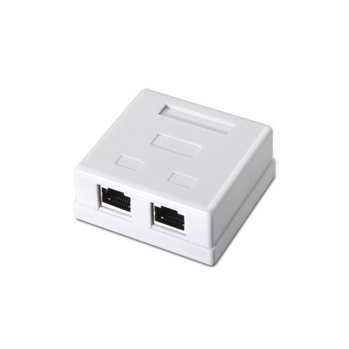 Roseta de superficie RJ45 Cat.6 FTP 2 tomas. Blanco.