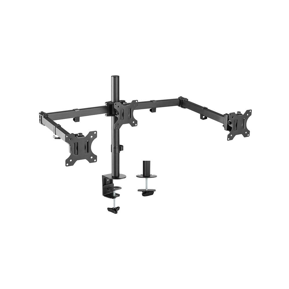 Soporte de mesa para 3 Monitores 13~27. Giratorio e inclinable.