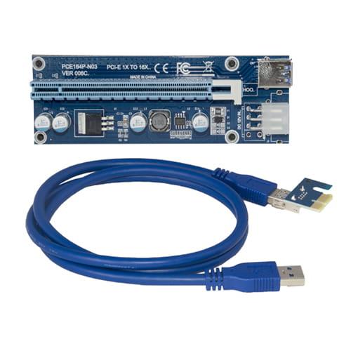 USB-Riser PCI-E 1x a 16x externo con alimentador PCIe