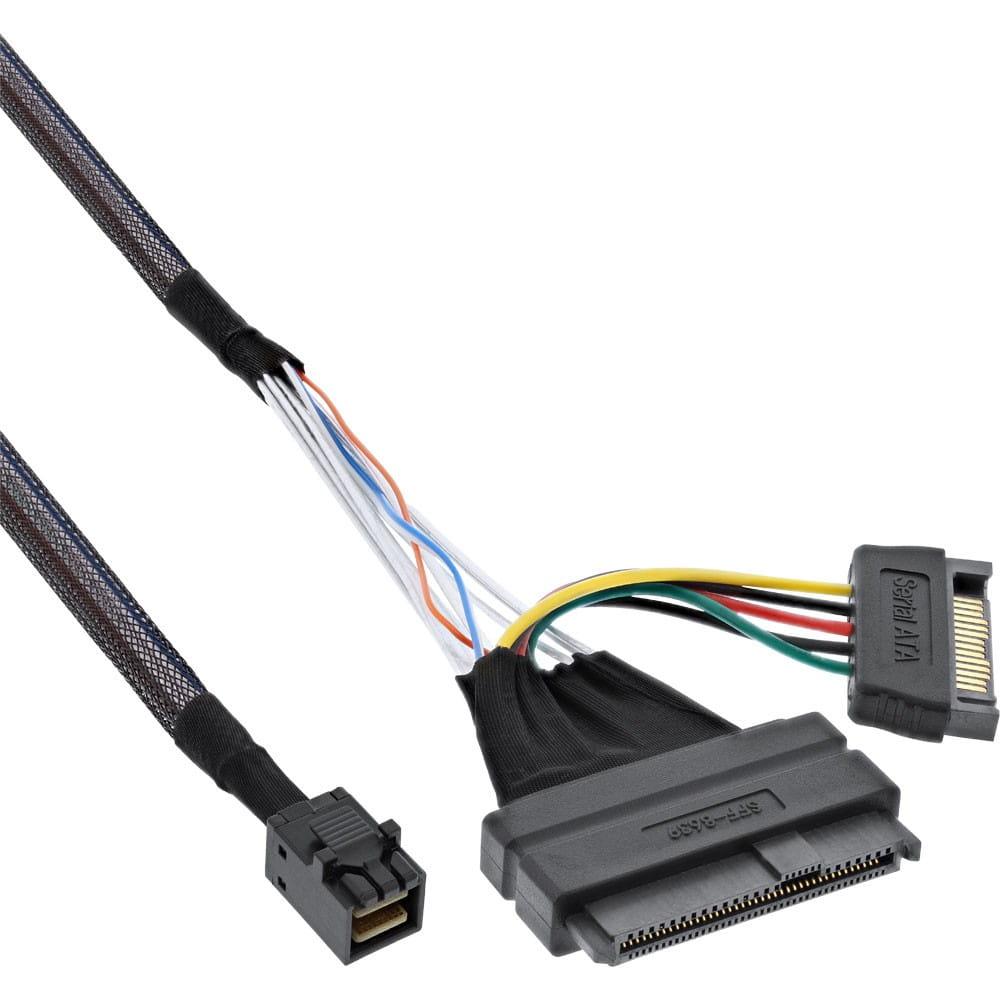 Cable U.2 SFF-8639 a SFF-8643 + Alimentación. 0.75m.