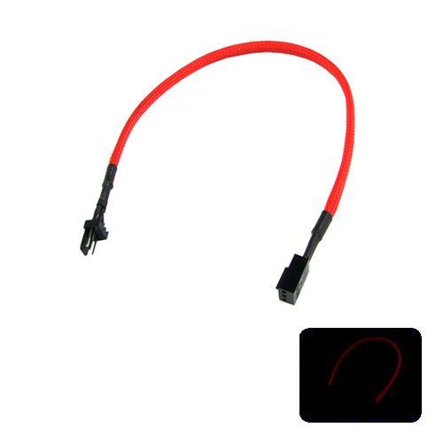 Phobya Alargo 3pin 30cm Sleeve Rojo UV