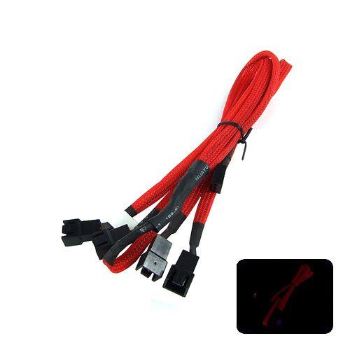 Phobya Ladrón x4 Molex 3-pin 60cm Rojo