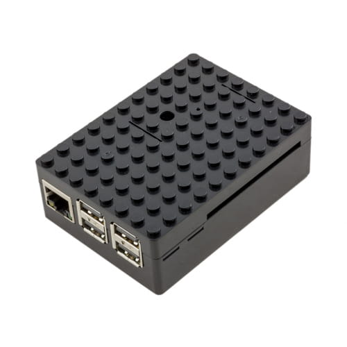 barebone Raspberry Pi 3b plus con 1Gb - 4 USB Negro tipo block Lego