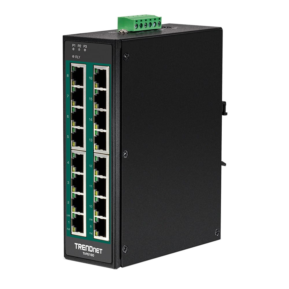 Trendnet TI-PG160. Switch DIN-RAIL PoE+ Gigabit 16 Puertos.