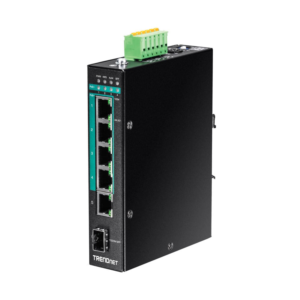 Trendnet TI-PG541. Switch DIN-RAIL PoE+ Gigabit 5 Puertos.