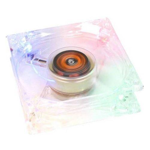 Revoltec RL006. Ventilador transparente, 4 LEDs de colores 80x80